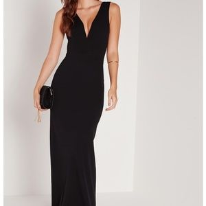Plunging floor length gown